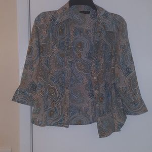 colorful blouse 3/4 sleeve small/petite
